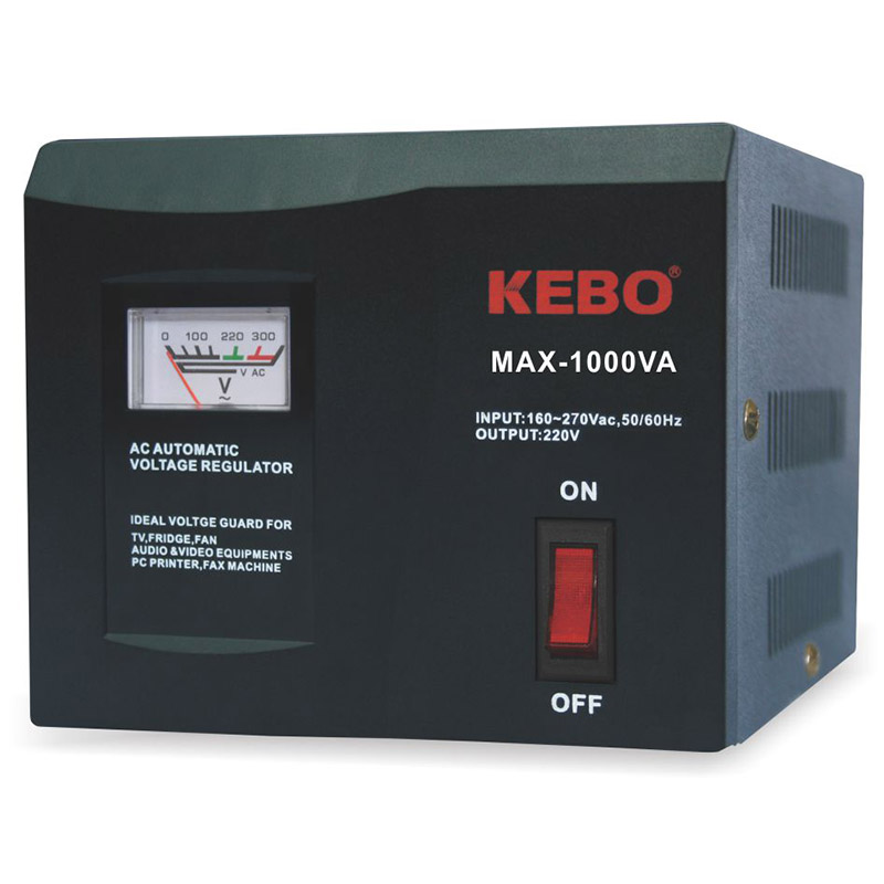 KEBO -Classical Type Meter Display 220V Voltage Stabiliser MAX series with Dual Output Socket