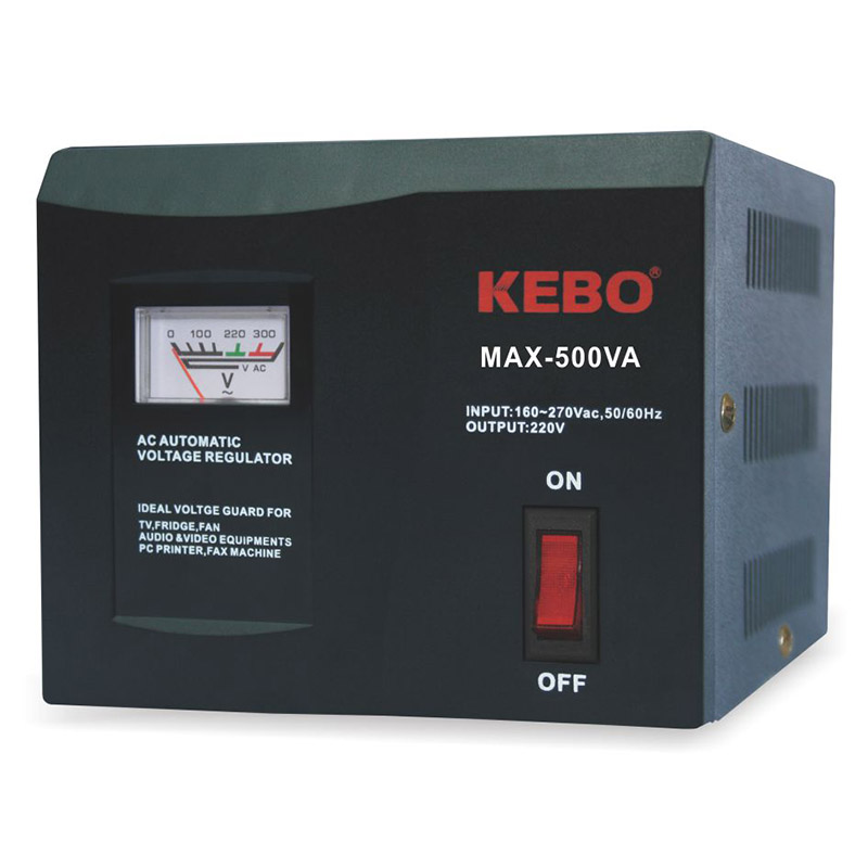 KEBO -Classical Type Meter Display 220V Voltage Stabiliser MAX series with Dual Output Socket-1